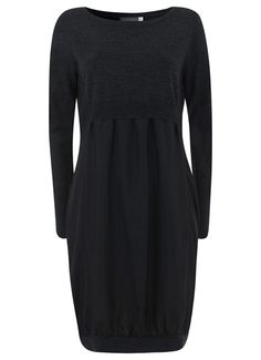 Charcoal Silk & Knit Dress