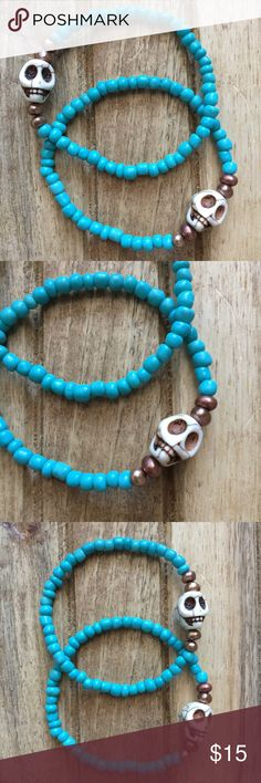 "╳SALE╳Handmade Best Friend Bracelets Handmade best friend bracelets ➵ ivory colored howlite skulls ➵ turquoise colored seed beads ➵ copper fresh water pearls ➵ comes with 2 bracelets ➵ handmade by me in El Paso, Texas ➵ made to fit standard 7.5"" wrist Handmade Jewelry Bracelets"