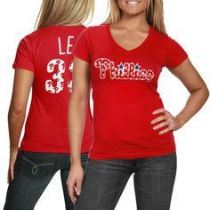 b540a7047 Majestic Threads Cliff Lee Philadelphia Phillies Ladies Repeating Logo  V-Neck Premium T-Shirt