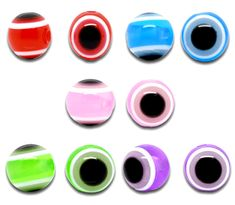 Doreen Box 100 PCs Mixed Multicolor Evil Eye Stripe Round Resin Spacer Beads 10mm (B10124)
