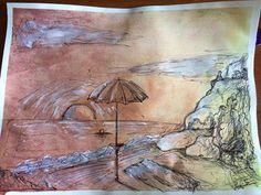 Spiaggia al tramonto matita, acquerello, acrilico e penna