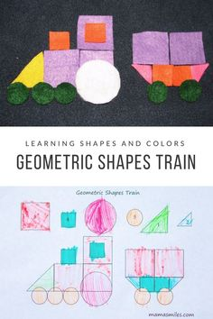 Practice shapes and colors with this fun geometric shapes train activity! I love the two different ways you can use this worksheet - one instant and one requiring only a little bit of prep work. #trains #trainactivity #preschool #ece #vbcforkids