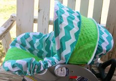teal and white chevron with lime green minky by SqueakyBugBabies Canopy Cover, Baby Grows, Seat Covers, Baby Car Seats, Chevron, Lime, Teal, Green, Design
