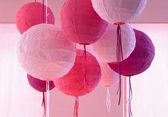 Selber machen: schöne Lampen: Papier-Ballonlampen bemalen