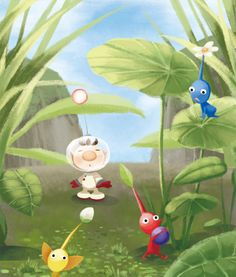 Captain Olimar, Blue Pikmin, Yellow Pikmin and Red Pikmin.
