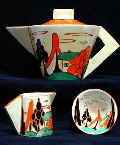 Clarice Cliff - Trees & House (Alpine) orange colourway Teapot set in conical shape. Art Deco Decor, Art Deco Home, Art Deco Design, Clarice Cliff, Ceramic Pottery, Pottery Art, Art Nouveau, Teapots And Cups, Art Deco Furniture