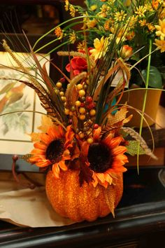 autumn / fall pumpkin floral arrangement  www.EvergreenMfg.net