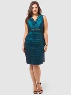 Empire Waist Dress With Shutter Skirt by Jessica Howard, Available in sizes 10/12,14W/16W,18W/20W/22W and 24W