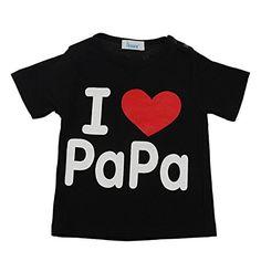 Zhengpin I Love Papa Mama Summer Baby Clothes Unisex Boy Girl Short Sleeve Cotton T-shirt (S(7-9Months), BlackA)