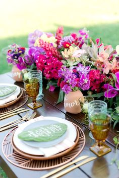 Colorful Wedding Tablescape // Colorful Wedding Ideas Inspired By Mexico via TheELD.com