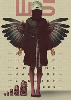 Retro poster design with Matryoshka dolls, wings, Russian / Cyrillic text in an eye chart background, with desaturated pink highlights
