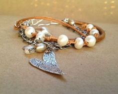 Multi-strand Leather Bracelet - Aussie Crush: Pearls, Silver and Leather