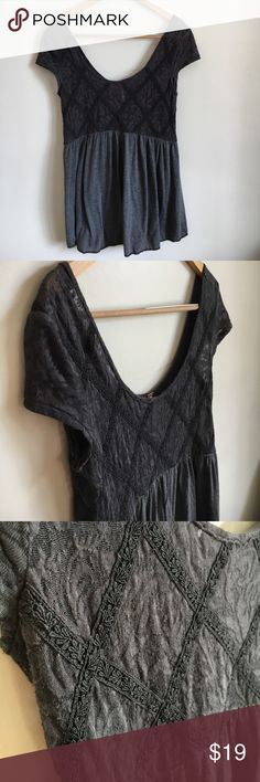 """Free People gray lace Tunic Blouse Has some slight pilling. See pictures. Size medium. Laying flat measures approximately 16"""" pit to pit and 29"""" long. Free People Tops Blouses"""