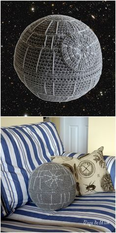 A free crochet pattern for the Star Wars Death Star? What a fun and easy crochet project for Force Awakens and Star Wars fans! (I'm sure you could tweak it to make it look like the Starkiller Base too! Crochet Home, Crochet Gifts, Cute Crochet, Crochet Geek, Knit Crochet, Crotchet, Crochet Flower, Crochet Motif, Easy Crochet
