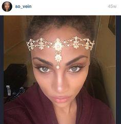 Gold Hair Jewelry Head Chain Head Piece Flower Pearl Bridal Birthday Holiday Boho Bohemian