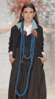 TM Collection - long cord-stitch knitted necklace in portuguese wool, with turquoise and brown strings and silk apliques