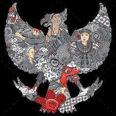 Amazing indonesia culture in garuda silhouete Premium Vector Independent Day, Landscape Art Lessons, Art Room Posters, Indonesian Art, Batik Art, Design Poster, Flyer Design, Graphic Design, Koh Tao