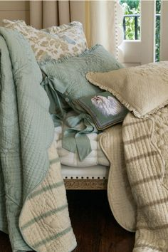 French Market #Quilt - In two colors, natural or spa, the pieces are reversible to a #French ticking stripe.   Soft Surroundings