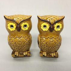 1980's Porcelain Horned Owls on Branches Pike's Peak Figural Salt Pepper Set | eBay