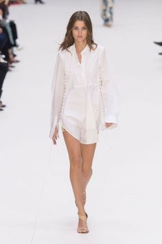 Keller threw in some sexy lingerie details that were subtle—Chloé is more about innocent gamines than vamps. White tuxedo shirts and camisoles had tiny buttons and built in bras, and some of the sailor looks had a filmy sheer quality.