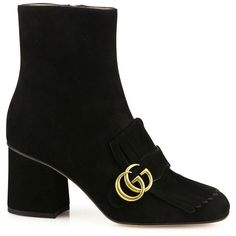 Gucci Marmont GG Suede Block-Heel Booties ($1,100) ❤ liked on Polyvore featuring shoes, boots, ankle booties, apparel & accessories, gucci, suede leather boots, suede boots, gucci booties and suede ankle booties