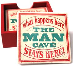 Perfect Father's Day Gift!  Man Cave Coasters, $9.99 (http://www.caseashells.com/man-cave-coasters/)