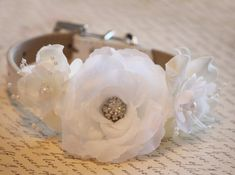Ivory white wedding dog collar, flowers with Pearls and Rhinestones,Ivory white Wedding accessory, Floral dog collar on Etsy, $42.50