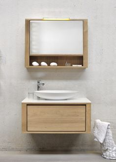 Single wall-mounted solid wood vanity unit OAK SHADOW | Single vanity unit by Ethnicraft