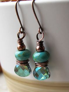 Aqua and Turquoise Copper Wrapped Beaded Dangle Earrings