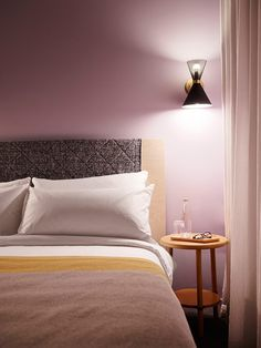 Alex Hotel responds to the overarching concept of the 'Hotel as Home'. Alex Hotel is new boutique hotel in Perth, Australia. Gray Bedroom, Bedroom Colors, Bedroom Wall, Bedroom Ideas, Bedroom Office, Design Bedroom, Master Bedroom, Bedroom Decor, Mauve Walls