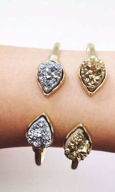 Gorgeous druzy cuffs: i'll take one in each color, please!