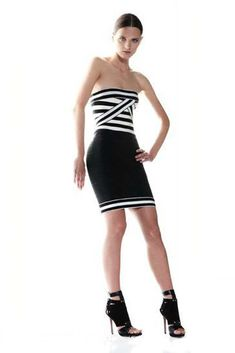 35f2b8b5b457 Herve Leger Black and White Striped Sophia Strapless Bandage Dresses