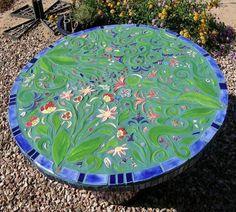 garden table mosaic of green color