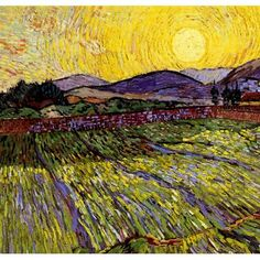 Van Gogh Field with Rising Sun Shower Curtain on CafePress.com