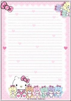 Made by Amanda Printable Lined Paper, Free Printable Stationery, Hello Kitty My Melody, Hello Kitty Themes, Hello Kitty Pictures, Hello Kitty Birthday, Notebook Paper, Hello Kitty Wallpaper, Stationery Paper