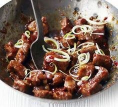 Vietnamese-style caramel pork: Stir-fry chunks of pork with shallots, ginger and chilli in a wok then add fish sauce and brown sugar for a sweet, sticky and spicy sauce: