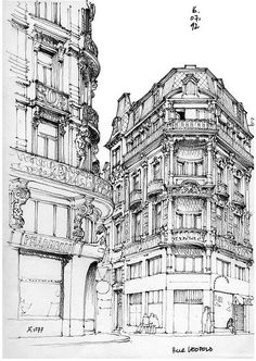Sketch Book Architectural Sketches - Liège, rue Léopold by gerard michel Drawing Sketches, Art Drawings, Drawing Ideas, Building Sketch, Building Drawing, Perspective Drawing, Illustration Art, Illustrations, Architecture Drawings