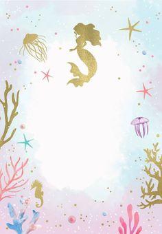 Under the Sea - Birthday Invitation Template (free) Mermaid Party Invitations, Birthday Party Invitations Free, Baby Shower Invitation Templates, Mermaid Theme Birthday, Little Mermaid Birthday, Birthday Kids, Baby Boys, Templates Free, Blogger Templates