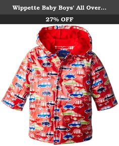 Wippette Baby Boys All Over Cars Rain Coat, Red, 12 Months. Hooded all over car print rain jacket.