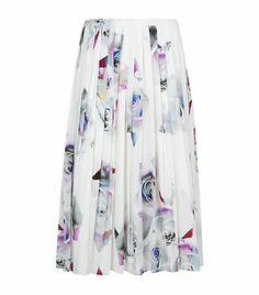Paul Smith Black Rose Shard Pleated Midi Skirt