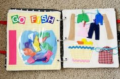 fish bowl for fishing and clothesline with laundry to practice fine motor skills with clothespins