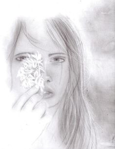 My sketch   Face girl art drawing graphite pencils woman flower
