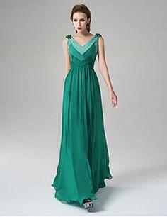 Formal Evening Dress A-line V-neck Floor-length Satin with Beading 0c1c7b47cf41e