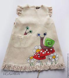 Купить Льняное детское платье.Ручная роспись. ПРОДАНО - бежевый, лен, льняное платье:
