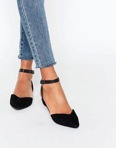Image 1 ofNew Look Ankle Strap Flat Shoe