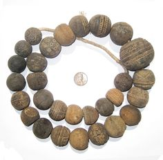 Antique Mali Clay Spindle Beads