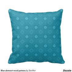 Blue abstract wood pattern throw pillows