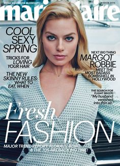 24-year-old actress Margot Robbie graces the March 2015 issue of Marie Claire US, wearing a printed look with a v-neckline.