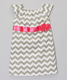 Take a look at this Gray & Pink Chevron Flower Dress - Infant, Toddler & Girls on zulily today!