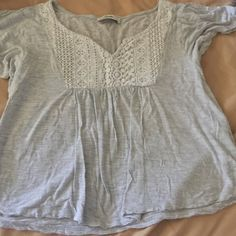 Gray Abercrombie Gray with beige knitted design Abercrombie & Fitch Tops Blouses